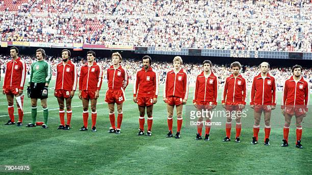 World Cup Finals Second Phase Barcelona Spain 4th July Poland 0 v USSR 0 The Polish team lineup prior to the match