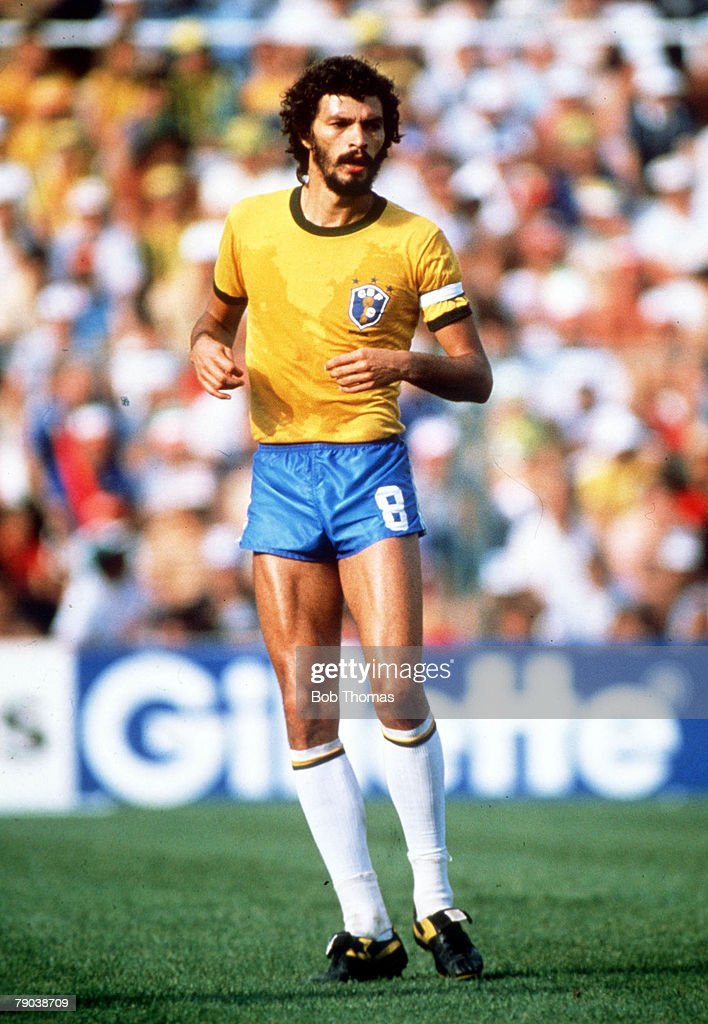 1982 World Cup Finals. Second Phase. Barcelona, Spain. 5th July, 1982. Italy 3 v Brazil 2. Brazil's Socrates. : News Photo