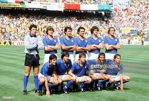 World Cup Finals Second Phase Barcelona Spain 5th July Italy 3 v Brazil 2 The Italian team group before the match