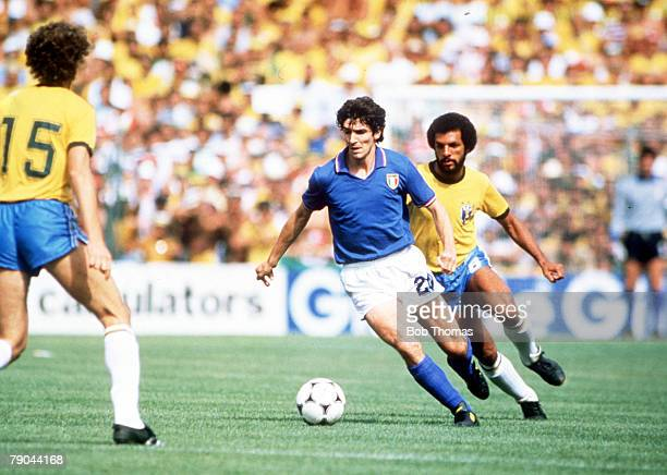 World Cup Finals Second Phase Barcelona Spain 5th July Italy 3 v Brazil 2 Italy's Paolo Rossi is followed by Brazil's Junior