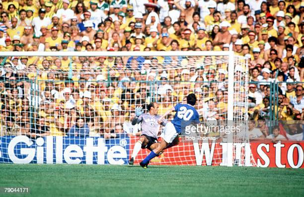 World Cup Finals Second Phase Barcelona Spain 5th July Italy 3 v Brazil 2 Italy's Paolo Rossi shoots at Brazilian goalkeeper Waldir Peres