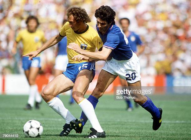World Cup Finals Second Phase Barcelona Spain 5th July Italy 3 v Brazil 2 Brazil's Falcao is challenged by Italy's Paolo Rossi