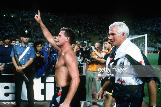 World Cup Finals Second Phase Bologna Italy 26th June England 1 v Belgium 0 England's Paul Gascoigne salutes the fans at the end of the match