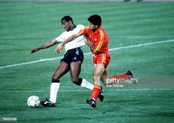 World Cup Finals Second Phase Bologna Italy 26th June England 1 v Belgium 0 England's John Barnes holds off the challenge of Belgium's Enzo Scifo