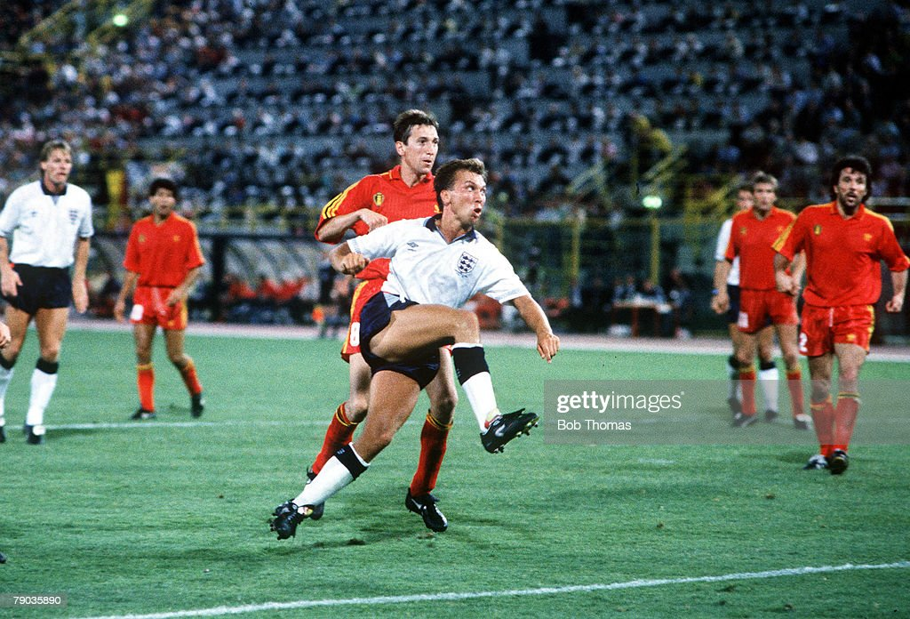 1990 World Cup Finals. Second Phase. Bologna, Italy. 26th June, 1990. England 1 v Belgium 0 (after extra time). England's David Platt volleys home his dramatic winning goal in the last minute of extra time. : News Photo