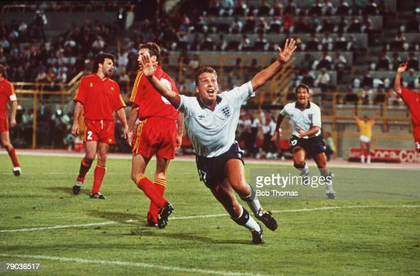 World Cup Finals Second Phase Bologna Italy 26th June England 1 v Belgium 0 England's David Platt celebrates after scoring the game's only goal in...