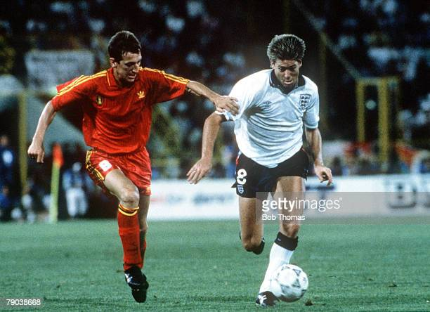 World Cup Finals Second Phase Bologna Italy 26th June England 1 v Belgium 0 England's Chris Waddle battles for the ball with Belgium's Franky Van Der...