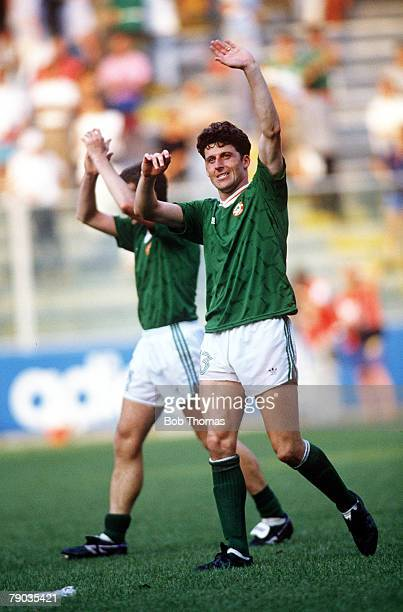 World Cup Finals, Second Phase, Genoa, Italy, 25th June Republic Of Ireland 0 v Romania 0 , Republic Of Ireland's Andy Townsend salutes the fans at...