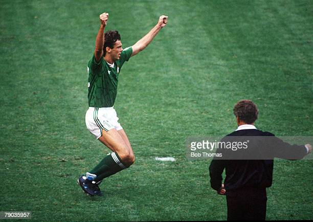 World Cup Finals Second Phase Genoa Italy 25th June Republic Of Ireland 0 v Romania 0 Republic Of Ireland's David O' Leary leaps with joy as he...