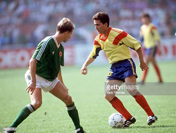 World Cup Finals Second Phase Genoa Italy 25th June Republic Of Ireland 0 v Romania 0 Romania's Gheorghe Hagi takes on Republic Of Ireland's Chris...