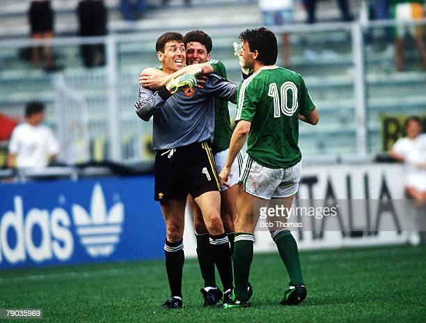 World Cup Finals, Second Phase, Genoa, Italy, 25th June Republic Of Ireland 0 v Romania 0 , Republic Of Ireland's Andy Townsend and Tony Cascarino...