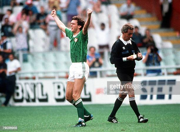 World Cup Finals Second Phase Genoa Italy 25th June Republic Of Ireland 0 v Romania 0 Republic Of Ireland's David O' Leary celebrates after scoring...