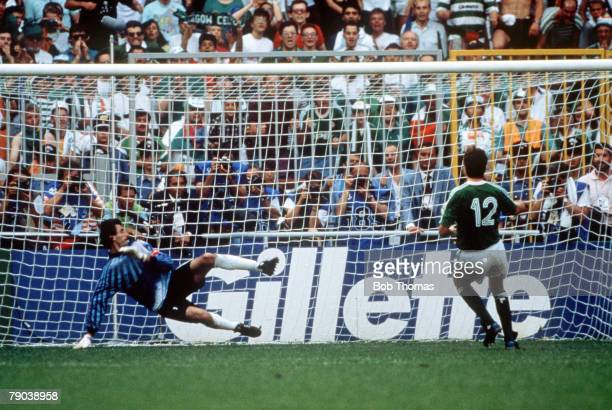 World Cup Finals Second Phase Genoa Italy 25th June Republic Of Ireland 0 v Romania 0 Republic Of Ireland's David O' Leary scores the match winning...