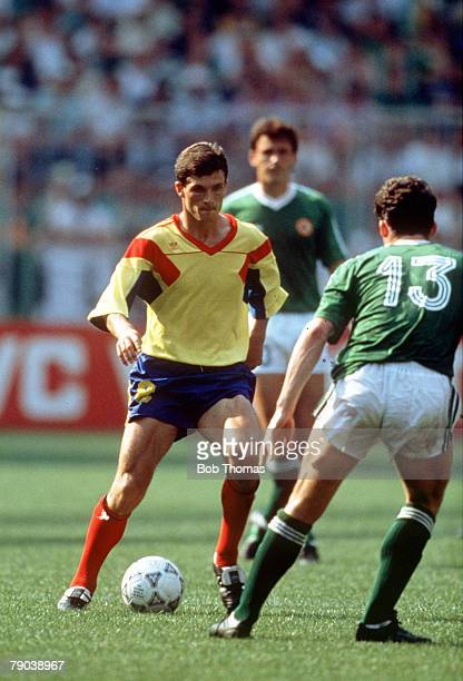 World Cup Finals, Second Phase, Genoa, Italy, 25th June Republic Of Ireland 0 v Romania 0, , Romania's Ion Sabau takes on Republic Of Ireland's Andy...