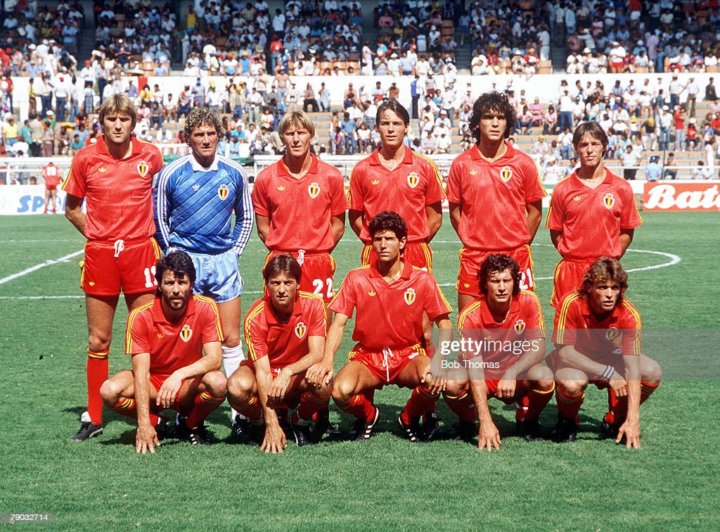1986 World Cup Finals. Second Phase. Leon, Mexico. 15th June, 1986. Belgium 4 v USSR 3. Belgium pose for a team group before the match. : News Photo