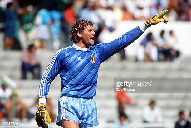 World Cup Finals Second Phase Leon Mexico 15th June Belgium 4 v USSR 3 Belgium's goalkeeper Jean Marie Pfaff gestures to his defence