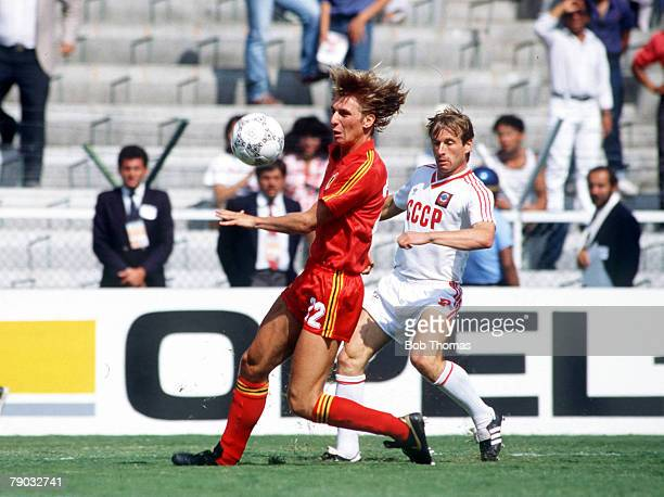 World Cup Finals Second Phase Leon Mexico 15th June Belgium 4 v USSR 3 Belgium's Jacques Munaron on the ball