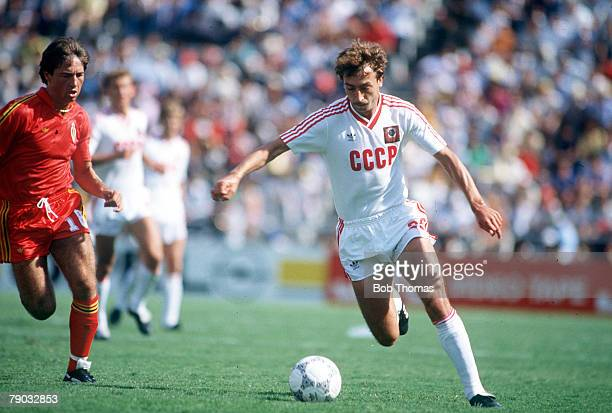 World Cup Finals Second Phase Leon Mexico 15th June Belgium 4 v USSR 3 USSR's Sergei Aleinikov on the ball