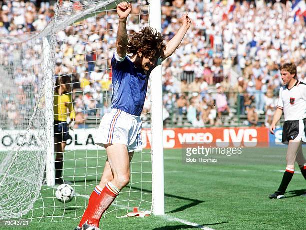 World Cup Finals Second Phase Madrid Spain 28th JUNE 1982 France 1 v Austria 0 France's Didier Six celebrates after teammate Bernard Genghini scored...