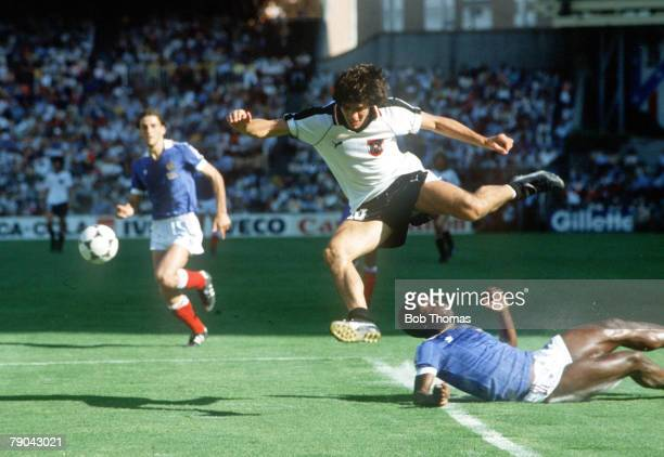 World Cup Finals Second Phase Madrid Spain 28th June France 1 v Austria 0 Austria's Reinhold Hintermaier is tackled by France's Marius Tresor