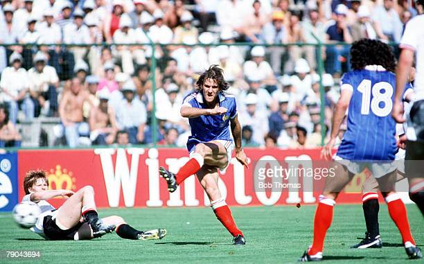 World Cup Finals Second Phase Madrid Spain 28th June France 1 v Austria 0 France's Patrick Battiston shoots past Austria's Josef Degeorgi