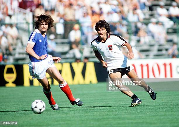 World Cup Finals Second Phase Madrid Spain 28th June France 1 v Austria 0 France's Didier Six goes for the ball with Austria's Reinhold Hintermaier