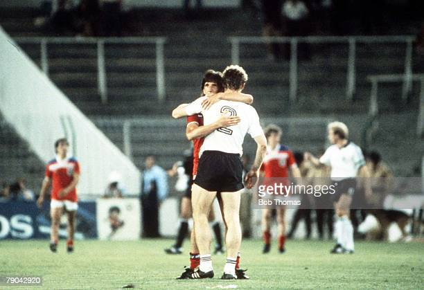 World Cup Finals Second Phase Madrid Spain 29th June England 0 v West Germany 0 England's Paul Mariner embraces West Germany's Hans Peter Briegel...
