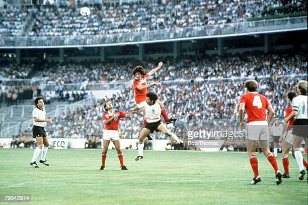 World Cup Finals Second Phase Madrid Spain 29th June England 0 v West Germany 0 England's Paul Mariner outjumps West Germany's Paul Breitner to head...