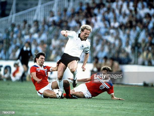 World Cup Finals Second Phase Madrid Spain 29th June England 0 v West Germany 0 West Germany's Karl Heinz Rummenigge leaves England's Bryan Robson...