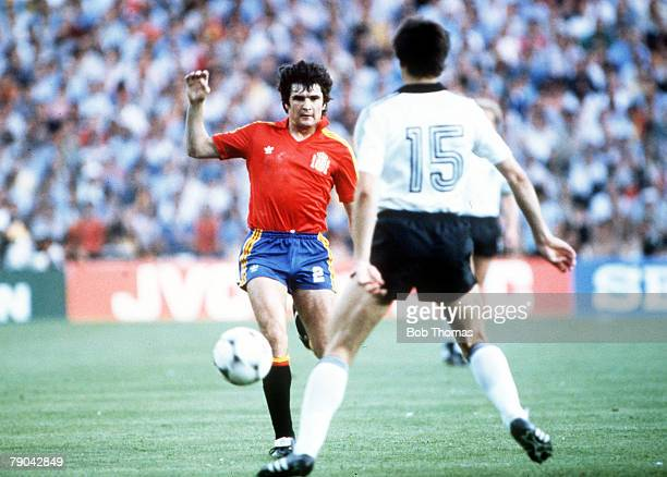 World Cup Finals Second Phase Madrid Spain 2nd July Spain 1 v West Germany 2 Spain's Antonio Camacho is faced by West Germany's Uli Stielike