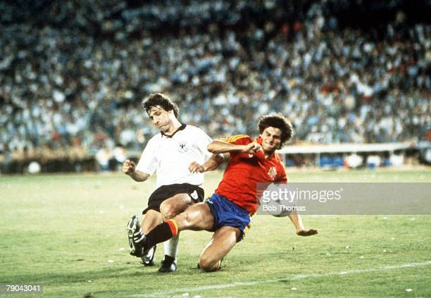 World Cup Finals Second Phase Madrid Spain 2nd July Spain 1 v West Germany 2 West Germany's Klaus Fischer beats Spain's Antonio Camacho