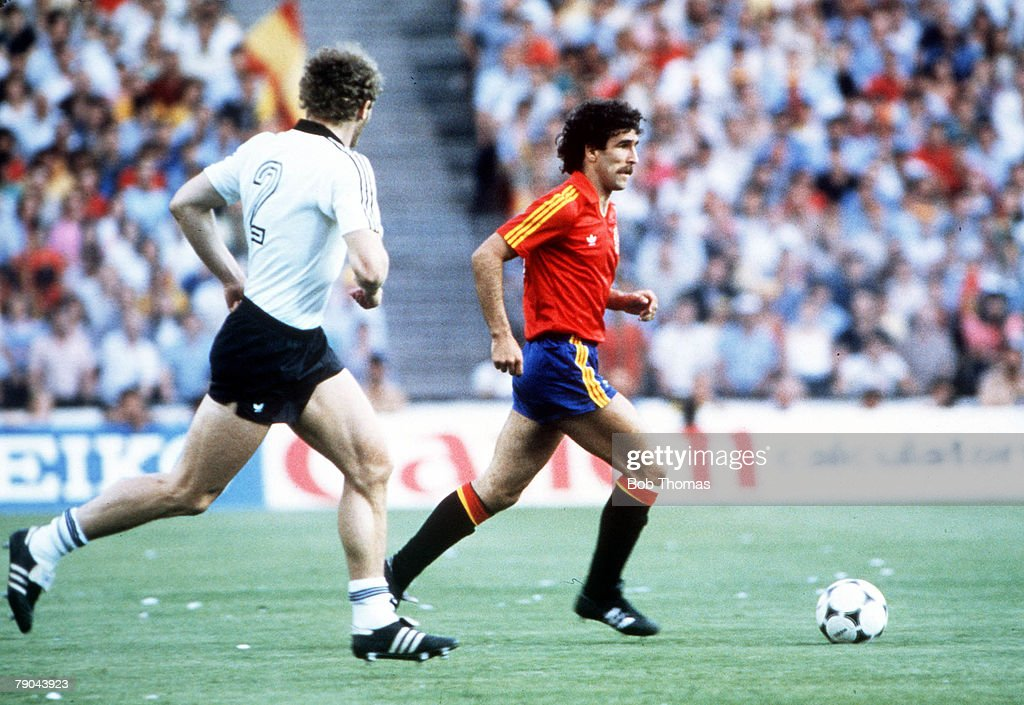 1982 World Cup Finals. Second Phase. Madrid, Spain. 2nd July, 1982. Spain 1 v West Germany 2. Spain's Jesus Zamora is shadowed by West Germany's Hans Peter Briegel. : News Photo