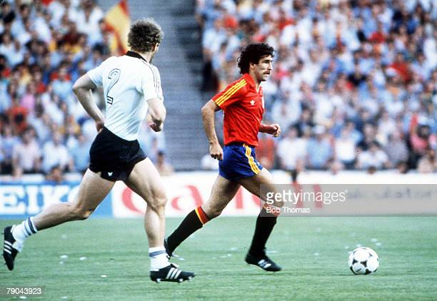 World Cup Finals Second Phase Madrid Spain 2nd July Spain 1 v West Germany 2 Spain's Jesus Zamora is shadowed by West Germany's Hans Peter Briegel