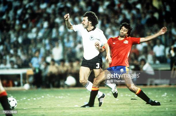 World Cup Finals Second Phase Madrid Spain 2nd July Spain 1 v West Germany 2 West Germany's Paul Breitner is tackled by Spain's Jose Ramon Alesanco