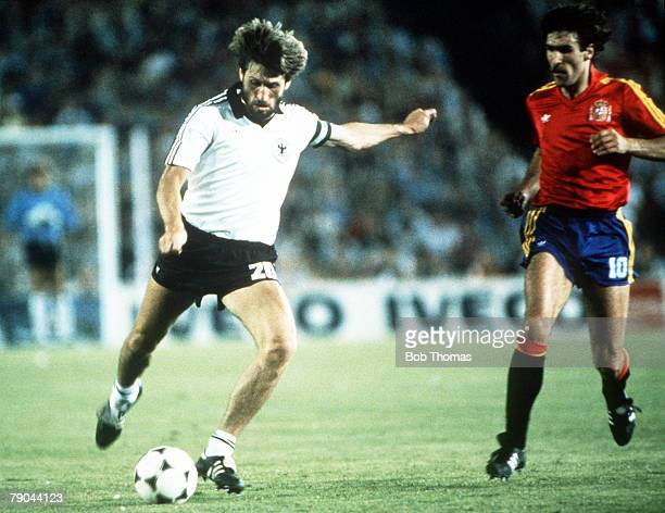 World Cup Finals Second Phase Madrid Spain 2nd July Spain 1 v West Germany 2 West Germany's Manny Kaltz