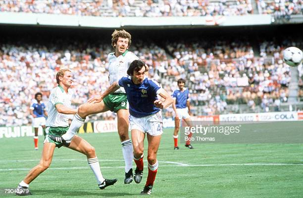 World Cup Finals Second Phase Madrid Spain 4th July France 4 v Northern Ireland 1 France's Maxime Bossis is outjumped for the ball by Northern...