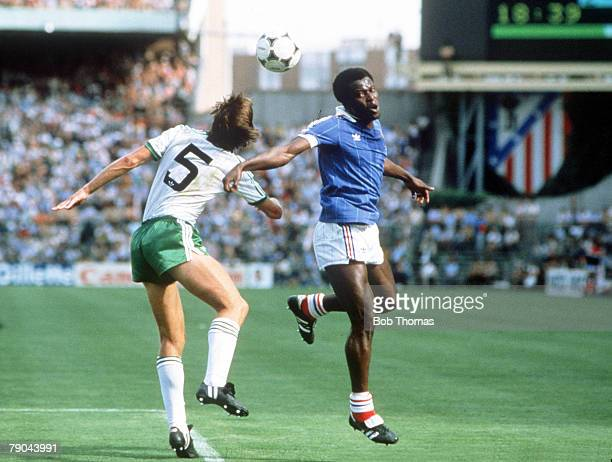 World Cup Finals Second Phase Madrid Spain 4th July France 4 v Northern Ireland 1 France's Marius Tresor is beaten in the air by Northern Ireland's...