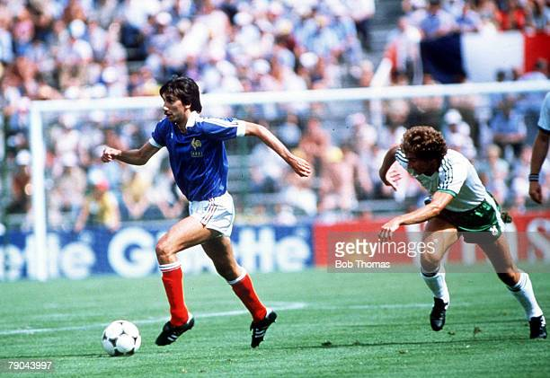 World Cup Finals Second Phase Madrid Spain 4th July France 4 v Northern Ireland 1 France's Bernard Genghini gets away from Northern Ireland's Martin...