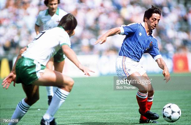 World Cup Finals Second Phase Madrid Spain 4th July France 4 v Northern Ireland 1 France's Alain Giresse is challenged for the ball by Northern...