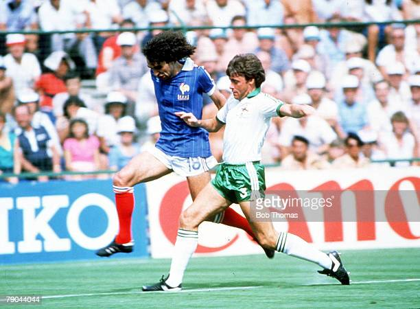 World Cup Finals Second Phase Madrid Spain 4th July France 4 v Northern Ireland 1 France's Dominique Rocheteau is tackled by Northern Ireland's Mal...