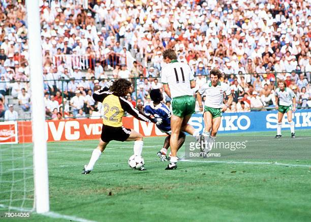 World Cup Finals Second Phase Madrid Spain 4th July France 4 v Northern Ireland 1 Northern Ireland's Gerry Armstrong scores his side's only goal past...