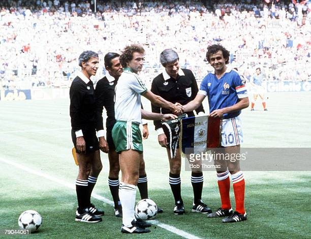 World Cup Finals Second Phase Madrid Spain 4th July France 4 v Northern Ireland 1 Captain's Martin O'Neill and Michel Platini at the tossup