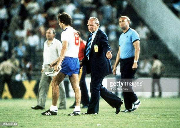 World Cup Finals, Second Phase, Madrid, Spain, 5th July England 0 v Spain 0, England manager Ron Greenwood consoles Trevor Francis as England are...