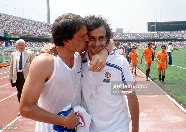 World Cup Finals Second Phase Mexico City Mexico 17th June France 2 v Italy 0 France's Michel Platini is warmly congratulated by Italy's Marco...