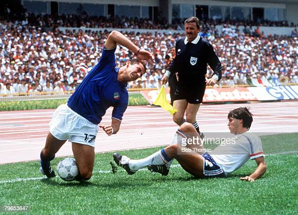 World Cup Finals Second Phase Mexico City Mexico 17th June France 2 v Italy 0 Italy's Gianluca Vialli falls on the ball as France's Manuel Amoros...