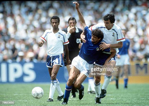 World Cup Finals Second Phase Mexico City Mexico 17th June France 2 v Italy 0 Italy's Alessandro Altobelli is fouled by France's Maxime Bossis as...
