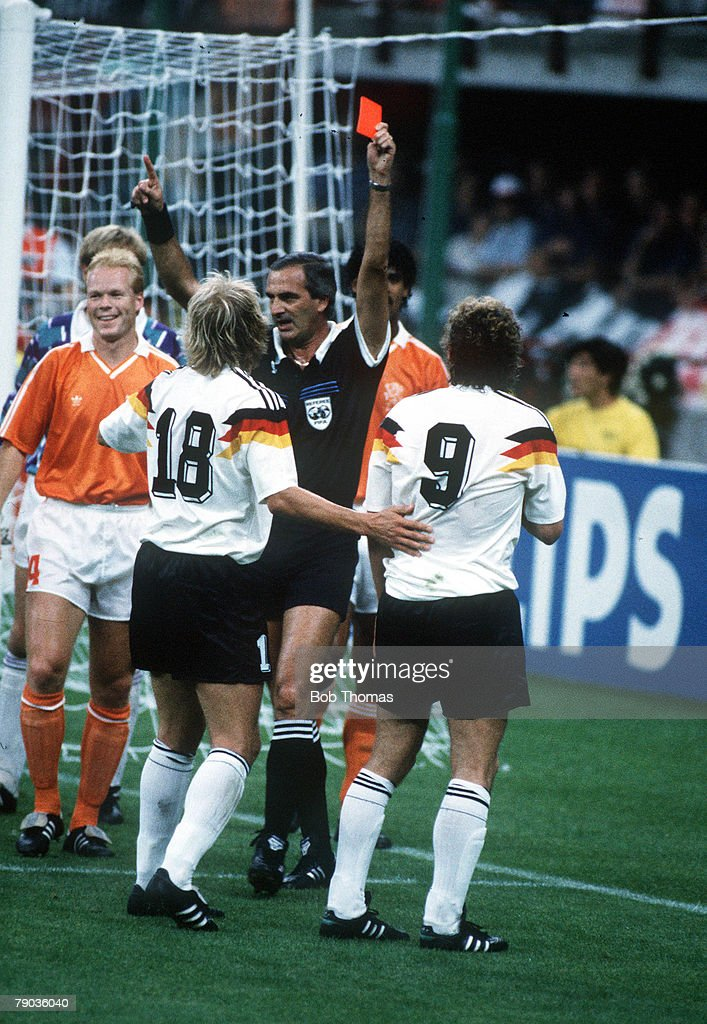 World Cup Finals, Second Phase, Milan, Italy, 24th June, 1990, West Germany 2 v Holland 1, West Germany's Rudi Voeller(9) and Frnk Rijkaard are sent off by referee J,C, Lostan of Argentina after a clash in the Dutch goalmouth, The two were involved in a spitting incident as they left the field