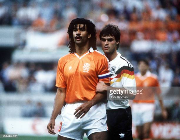 World Cup Finals Second Phase Milan Italy 24th June West Germany 2 v Holland 1 West Germany's Thomas Berthold closely marks Holland's Ruud Gullit