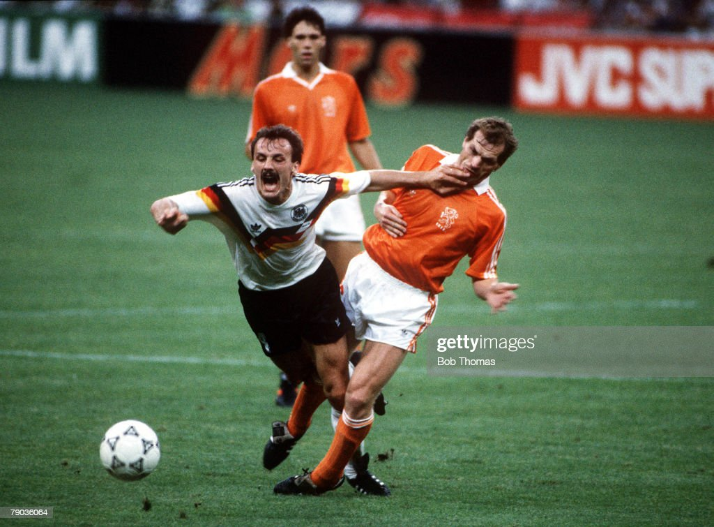 1990 World Cup Finals. Second Phase. Milan, Italy. 24th June, 1990. West Germany 2 v Holland 1. West Germany's Jurgen Kohler is fouled by Holland's Jan Wouters. : News Photo
