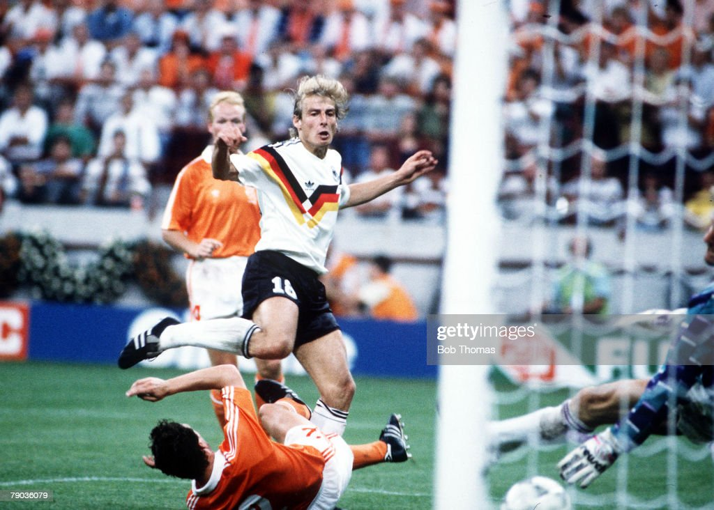1990 World Cup Finals. Second Phase. Milan, Italy. 24th June, 1990. West Germany 2 v Holland 1. West Germany's Jurgen Klinsmann scores his side's first goal. : News Photo
